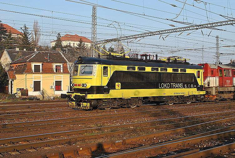 Žltočierny rušeň 242.287 s kocúrom 742.112 LTS, ktorý 21. decembra 2013 prechádza bratislavskou hlavnou stanicou, je tretím rušňom odkúpeným z Bulharska.