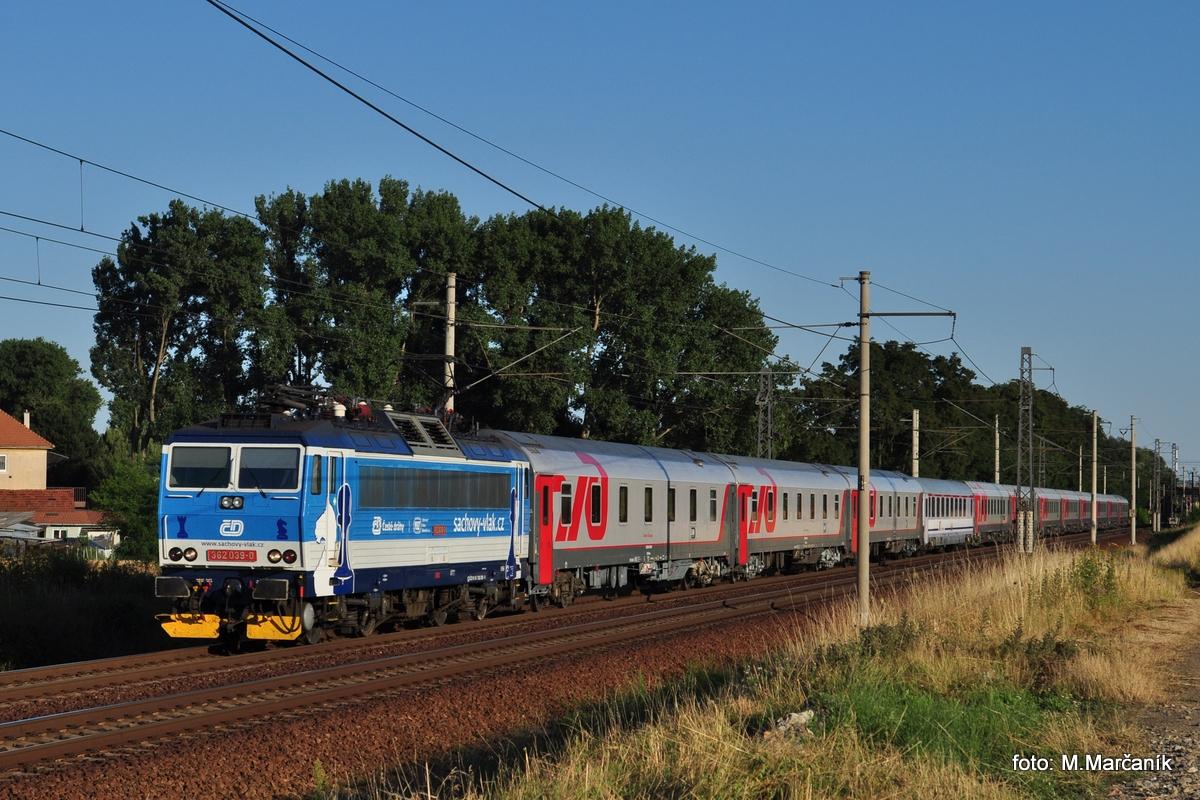 Vlak Nice-Moskva, sa da vyfotit len na málo miestach a jedným z nich je Hulín kde sa v jeho čele představuje eso 362.039.