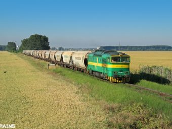 Okuliarnik PSŽ s vlakom na nakládku obilia