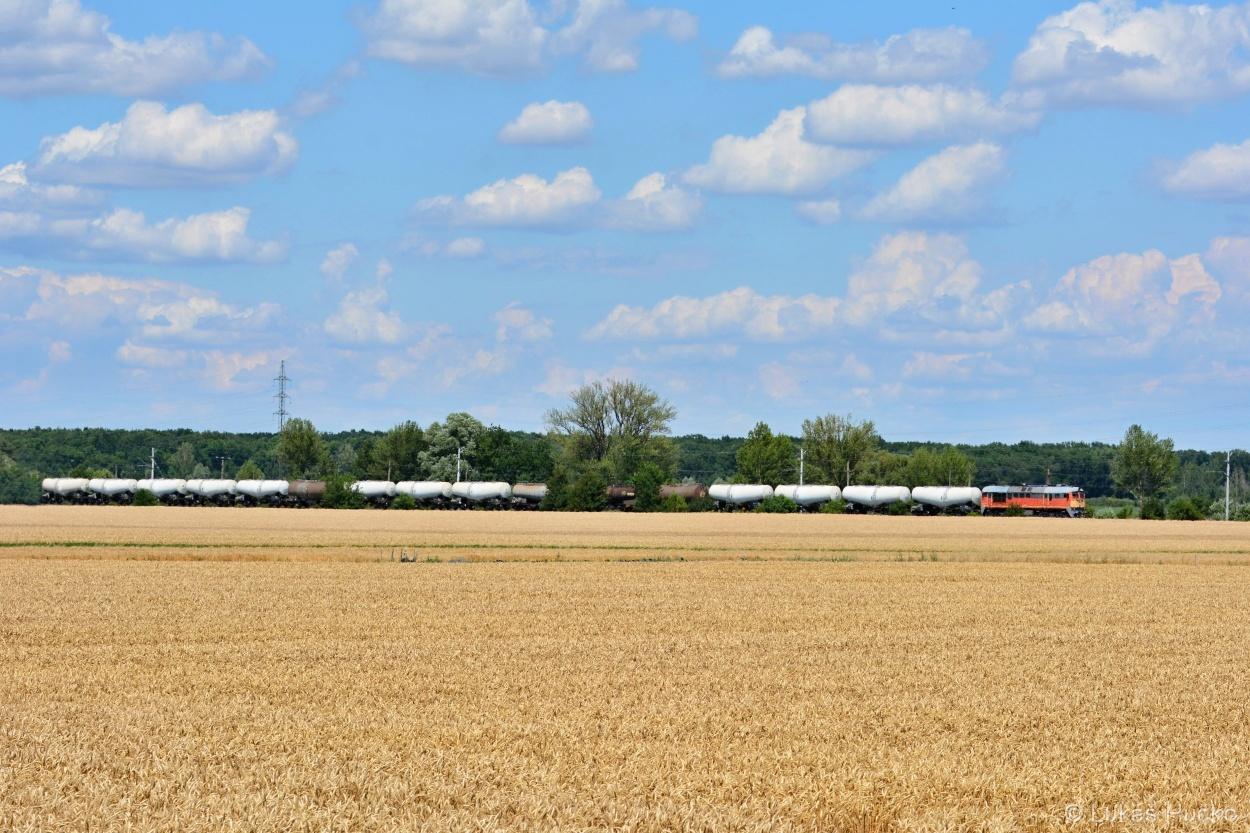 V úseku Bösárkány – Csorna projíždí nákladní vlak s 628.302 v čele