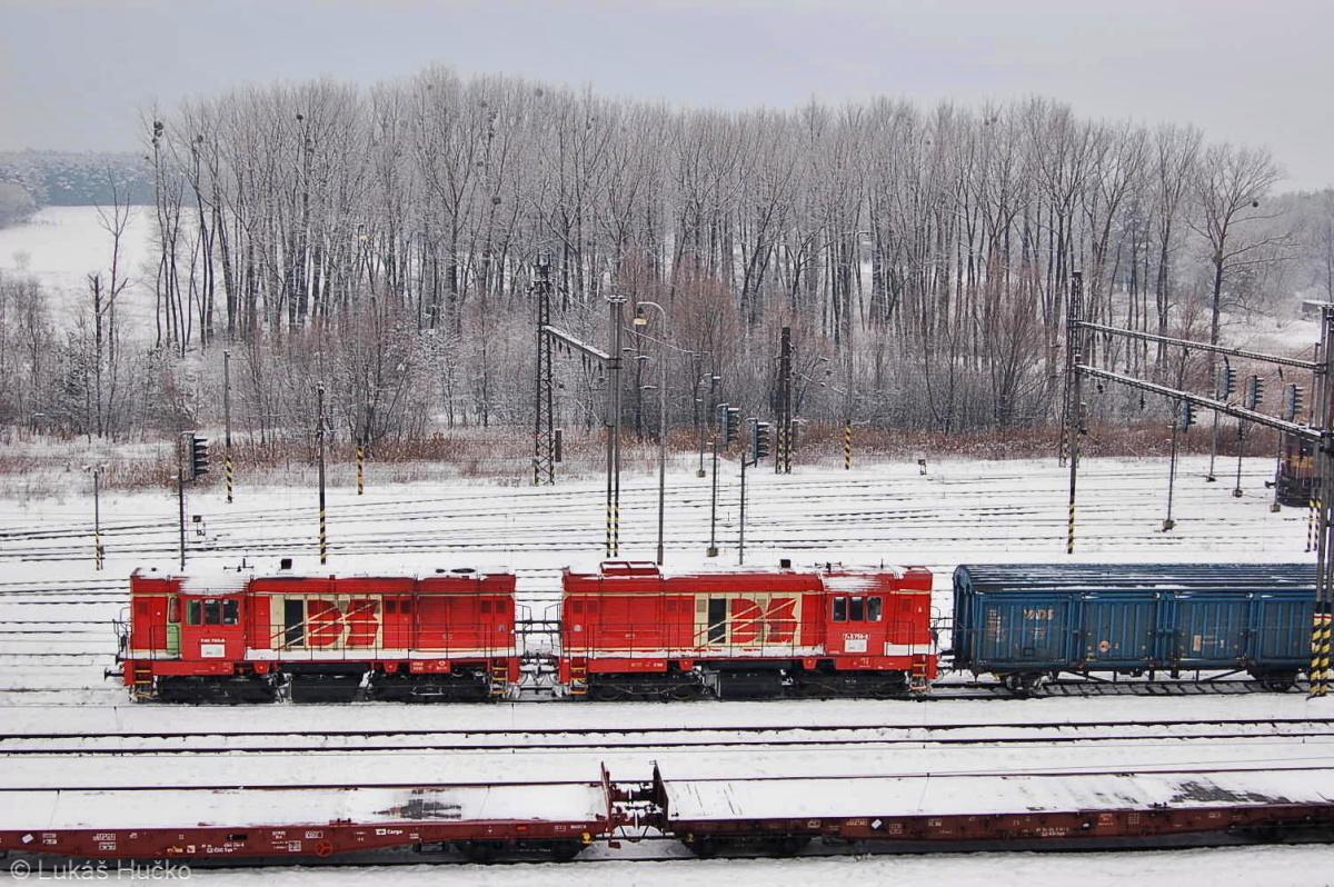 Dva stroje IDS ř.740 zachycené z okna kanceláře v žst. Kúty dne 24.02.2009