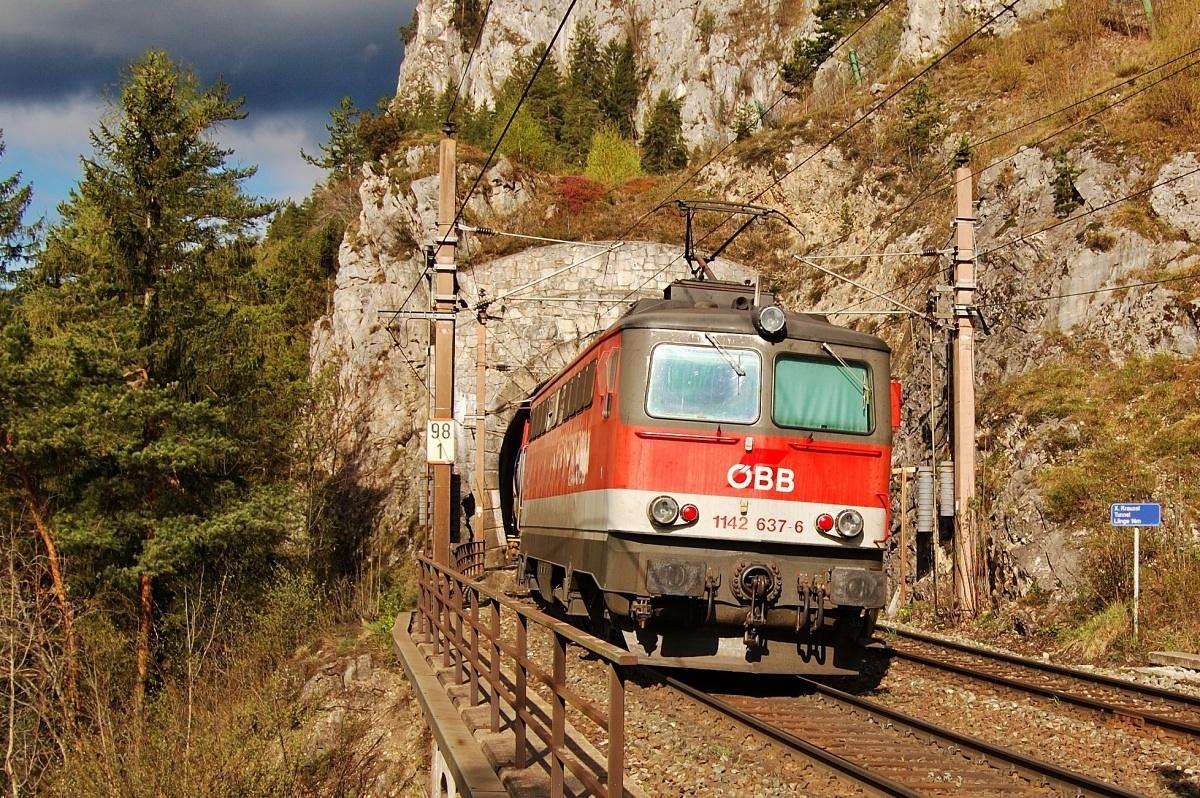 1142.637 na postrku nákladního vlaku se zachvíli ponoří do nejkratšího tunelu na trati. Breitenstein 18.04.2009