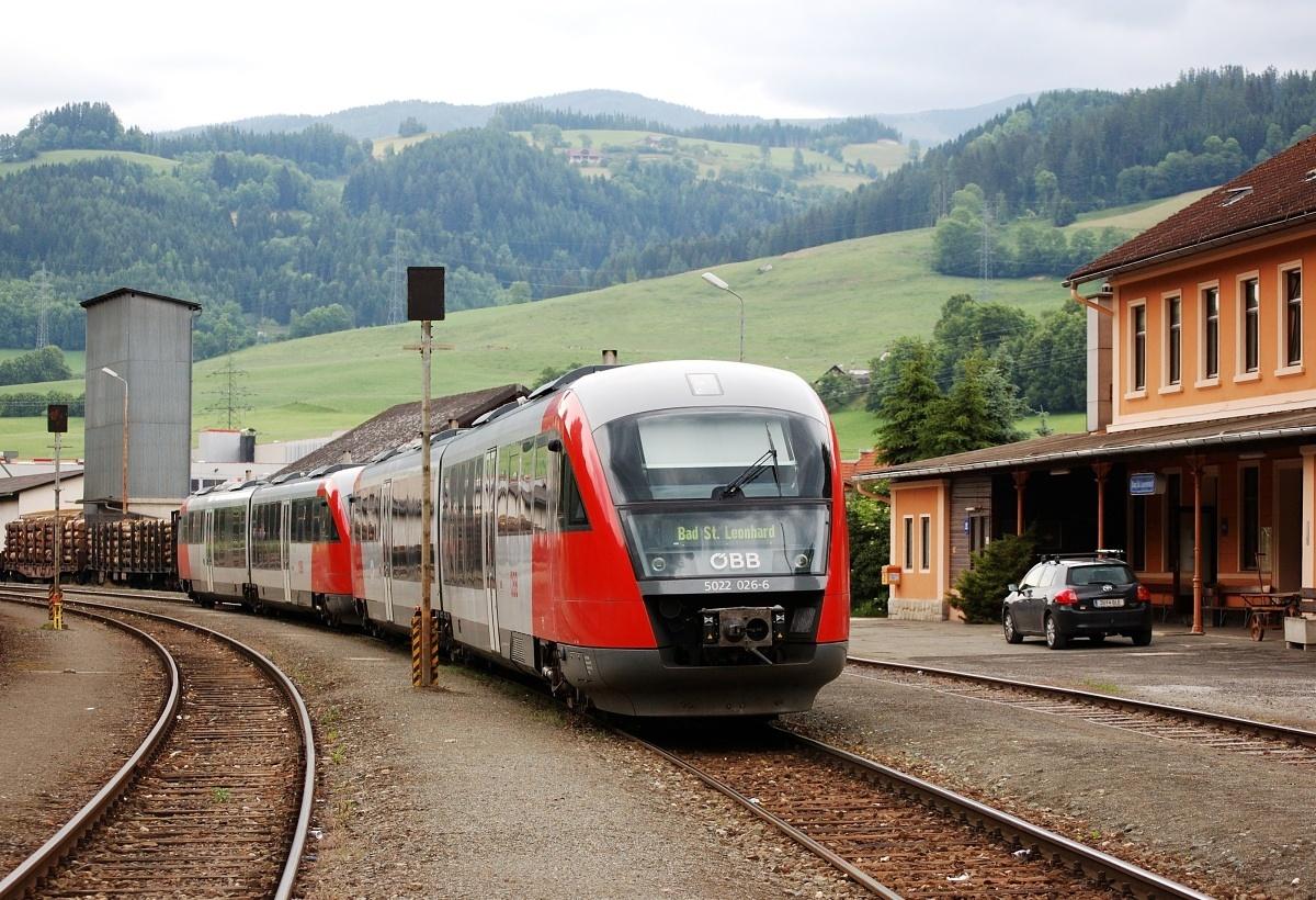 Stanice Bad St.Leonhard v době kdy ještě nebyla bez osobní dopravy. 08.06.2009