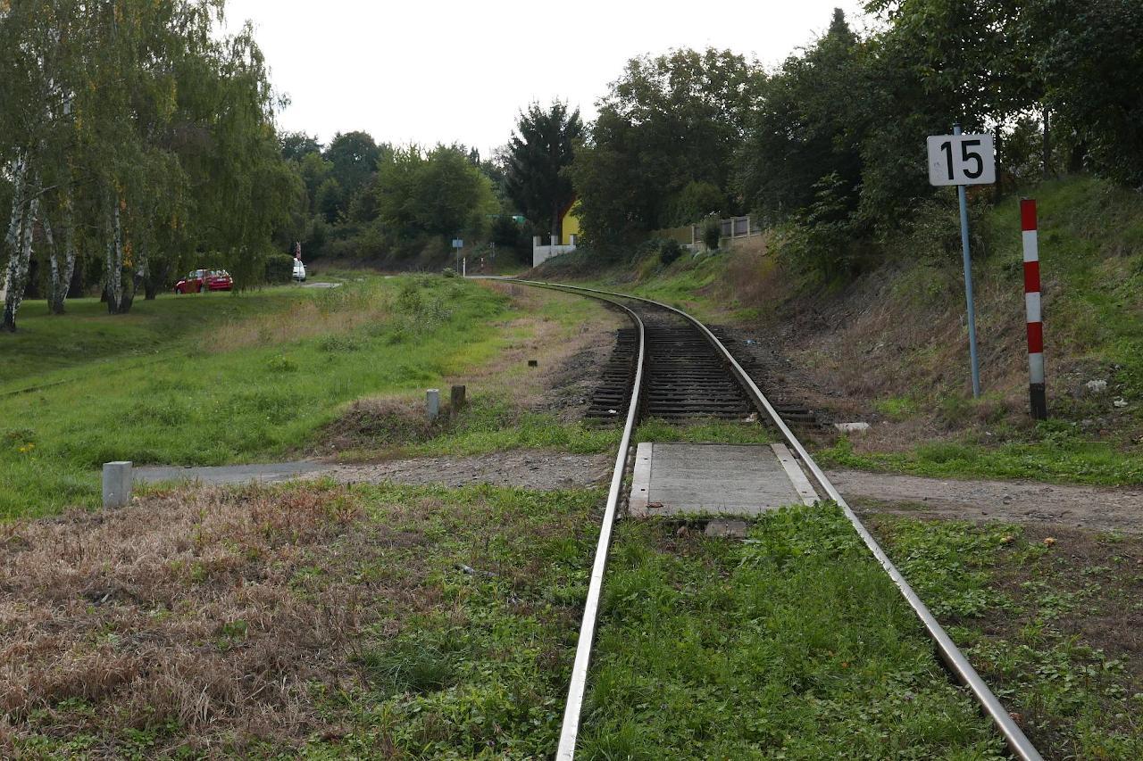 Priecestie v km 4,104 od Brandýsa nad Labem, stav pred výlukou.