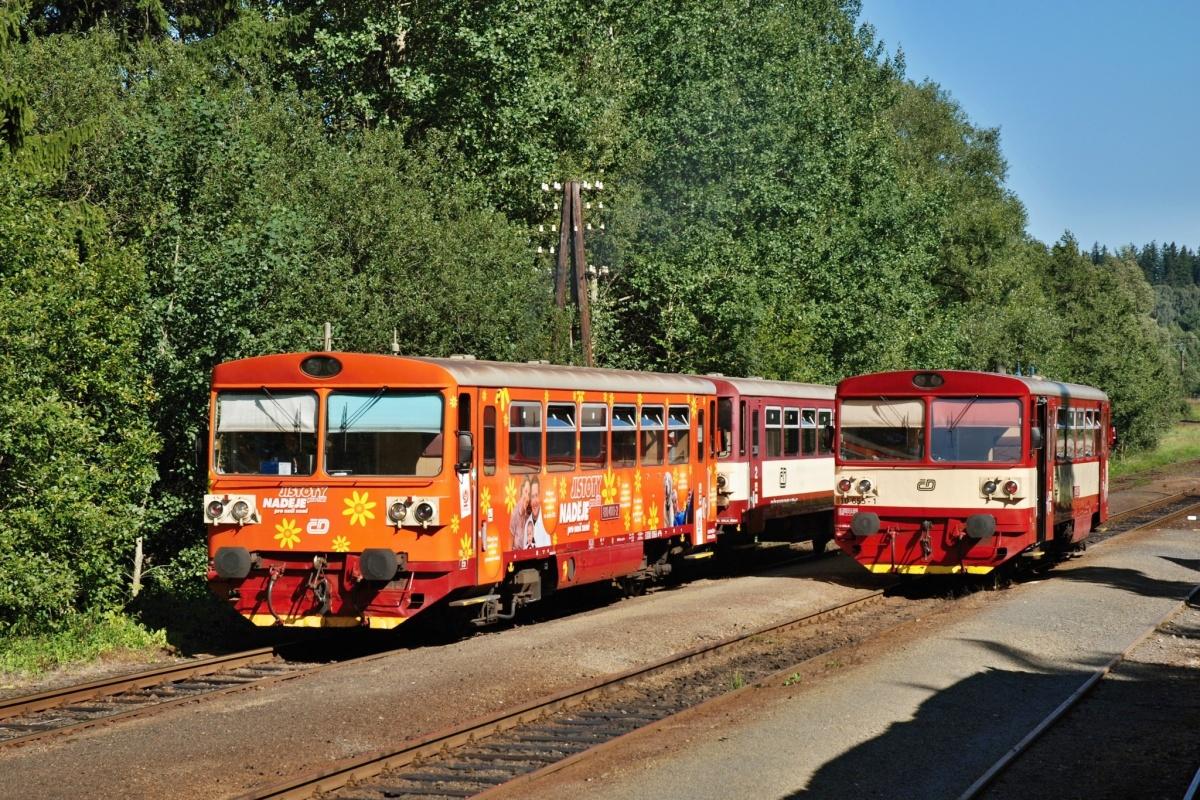 Křižování vlaku 15352 s motorovým vozem 810.400-2 nesoucím reklamu na politickou stranu a vlaku 15371 s motorovým vozem 810.655-1 v Čachnově 1. září 2009. Foto: Josef Vendolský