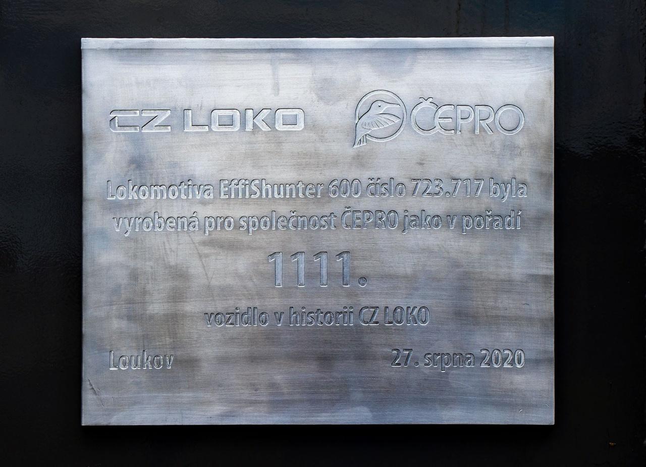 Pamětní štítek 1111. vyrobené lokomotivy CZ LOKO