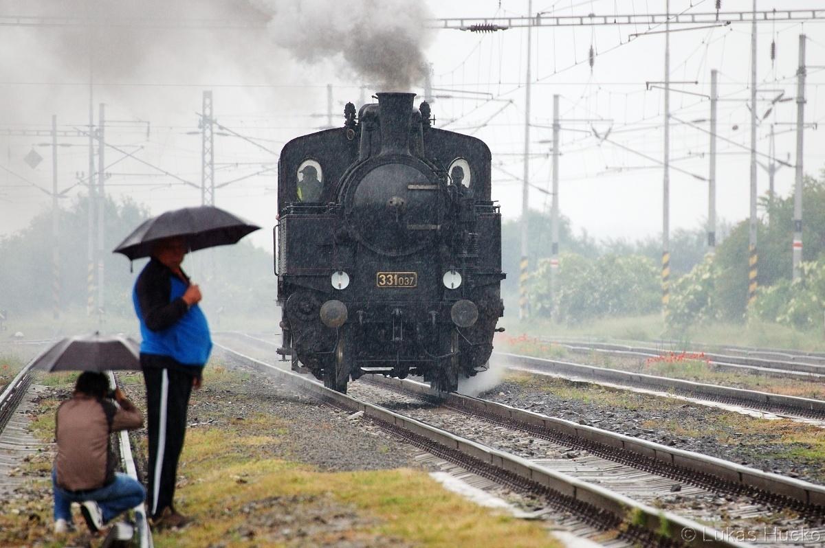 """Prší? Nevadí, parní vlak ve stanici Holíč nad Moravou 28.05.2011. Rodinka se svezla """"párou"""" přes hranice a ja udělal snímky 331.037 do sbírky"""